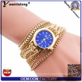Yxl-778 Geneva Brand Long Chain Strap Quartz Wristband Wtch Lady Watch Gold