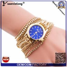 Yxl-398 2016 Ginebra al por mayor del abrigo de la armadura del cuarzo alrededor del reloj de la pulsera de la aleación Señora Fashion Woman reloj