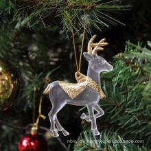 Plastic Glitter Christmas decoration santa claus sleigh