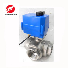 dn15 dn20 dn25 dn32 ss304 water flow electric 3 way control valve