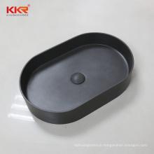 Concrete grey stone resin above counter bathroom vessel sink