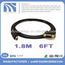 Macho banhado a ouro de 6FT 1.8M HDMI ao macho de VGA 15Pin HD-15 para o cabo video do PC