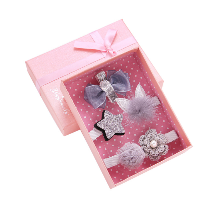 Pink Paper Girl S Hair Clip Set Gift Box