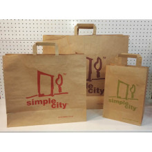 Custom Kraft Paper Shopping Bag med platt handtag
