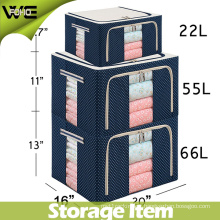 Fabric Collapsible Foldable Steel Shelf Lidded Storage Box with See-Through Window