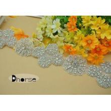 Handmade Silver Beaded Flower Design Crystal Rhinestone Tri