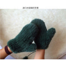 Excellent quality sexy women real fur gloves