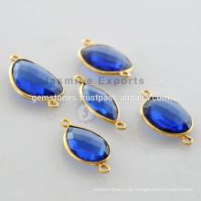 925 Silber blaue Saphir vergoldete Lünette