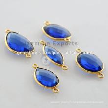 925 Silver Blue Sapphire plaqué or connecteurs lunette