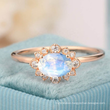 925 Sterling Silver Oval Cut Natural Rainbow Moonstone Ring