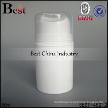 50 мл белый безвоздушного бутылка ПП с насосом, пластиковые безвоздушного насос бутылки, безвоздушная косметическая бутылка лосьона для продажи