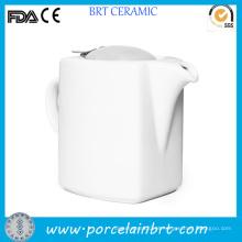 Chaleira de chá de boa porcelana quadrada branca