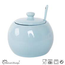 Nice Glazing Color Simple Sugar Pot with Spoon