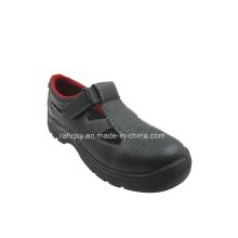 Sandália estilo dividir couro gravado sapatas de segurança (HQ05029)