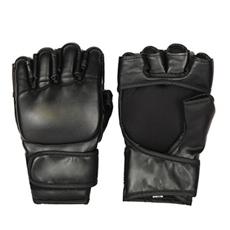 Black PU Boxing Training Gloves