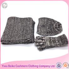 2017 mode filles hiver haute qualité éco personnalisé tricoté écharpe acrylique et chapeau ensemble