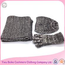 2017 мода девушки зима высокое качество Eco содружественные изготовленные на заказ трикотажные акриловые шарф и шляпа набор