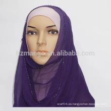 Productos en stock 100% crepe de seda GGT perlas hijab bufanda