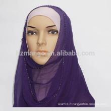 Les marchandises en stock 100% soie crepe GGT beading Hijab Echarpe
