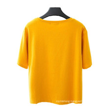 Cotton T Women′s Large-Capacity Fashion Solid Color Blank T-Shirt