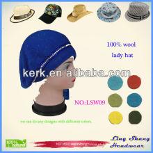 LSW09 fábrica de alta qualidade 2015 nova promoção 100% senhoras lã militar chapéu boina beanie