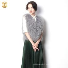 Nouvelle mise à jour de la veste courte en tricot 2016 et de la couleur grise fourrure du tibétain pour les femmes