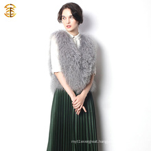 New 2016 Updating Knitted Short Vest and Tibet Sheep Fur Grey Color for Women
