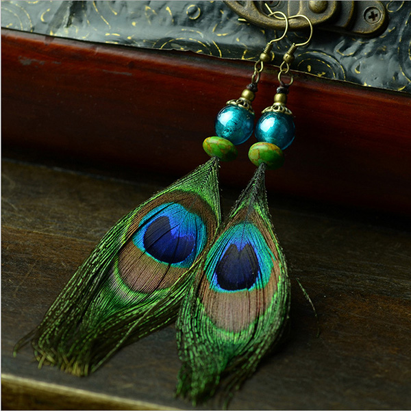 Peacock Feather Earrings With Turquiose Beads