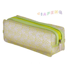 Green Pattern Frosted PVC Makeup Case With Zipper