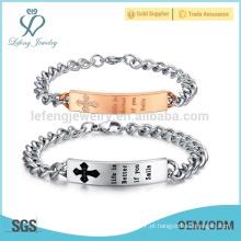 Eu nasci para te amar pulseira de aço inoxidável