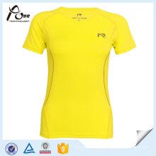 Senhoras manga curta correndo t-shirt roupas de ginástica