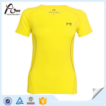 Neon Color Slimming Running T-Shirts Mujeres Running Wear Wholesale