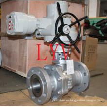 Vávula de bola de acero de carbono forjada montada muñón accionada eléctrica