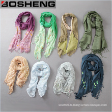 Écharpe imprimée en écharpe longue en couleur femme avec frangé