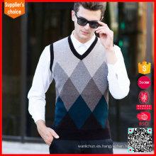 Chaleco formal del suéter de las lanas del intarsia del suéter del frente del diamante del chaleco de la nueva manera