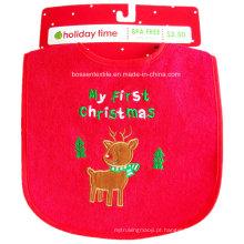 Promoção Babete de bebê de Natal personalizado com bordado de alces em algodão vermelho