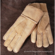 Durable and warmth double face leather gloves/mitten