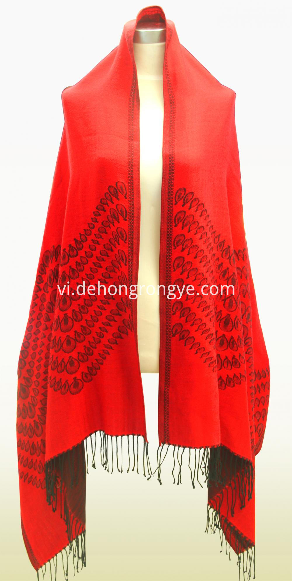 Big Red Worsted Cashmere Jacquard Shawl