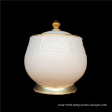 White embossed ceramic with gold rim for home hotel party  tea pot  coffee sugar seal  pot
