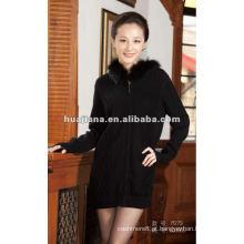 Casaco de camisola de cashmere longo e de luxo para o inverno