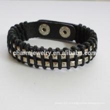 Мода Кожаный браслет с двойными пуговицами браслет с скручиванием веревкой браслет PSL024