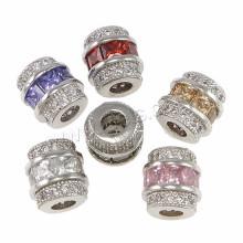 2016 Bijoux à la mode trouvés brillant cube zircone cubique perle 7x8mm perles en laiton 3mm