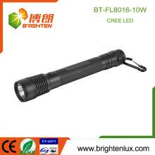 Factory Wholesale 3C Cell Dry Battery Operated Long Beam Range Aluminum Housing 10w led Cree xml t6 Flashlight With Carabiner