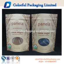 Customized candy kraft paper bag with ziplock and window pe zipper bag