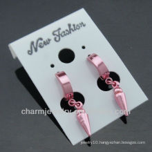 stainless steel ear piercing studs stainless steel Pink Plated earring studs HE-088-3