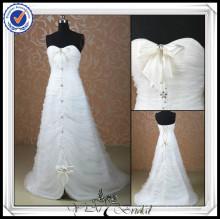 JJ0077 Sweetheart A-line frisado frente curto e longo nupcial vestido