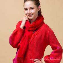 Подгонянный бахромой войлочные женщины красный толстые зима чистый цвет 100% кашемир шарф