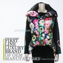 2017 mujeres europeas de la impresión de la chaqueta abajo