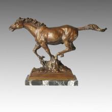 Статуя животных Лошадь, бегущая бронзовая скульптура Tpal-087