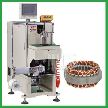 Fan motor stator coil slot winding lacing machine